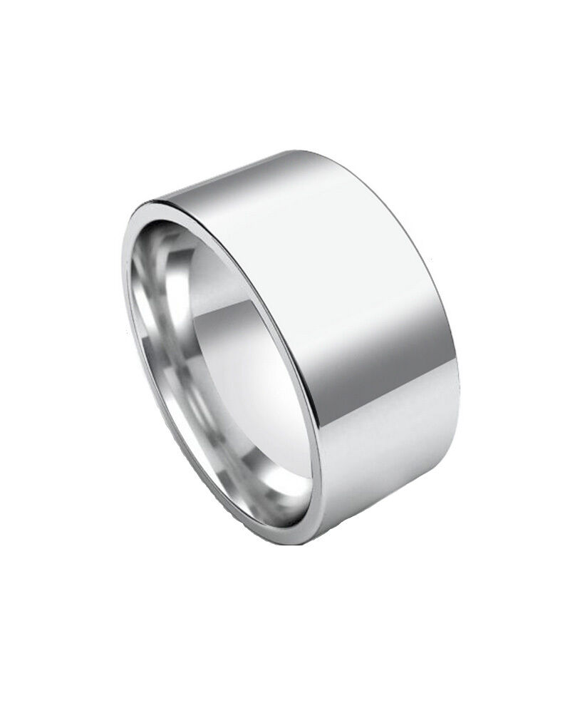 Polished 10mm Wide Engravable Flat Stainless Steel Unisex Men Wedding Ring Band | EBay