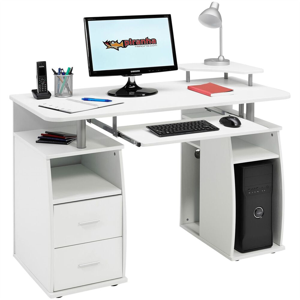 computer desk with shelves cupboard drawers home office piranha tetra pc 5s ebay. Black Bedroom Furniture Sets. Home Design Ideas