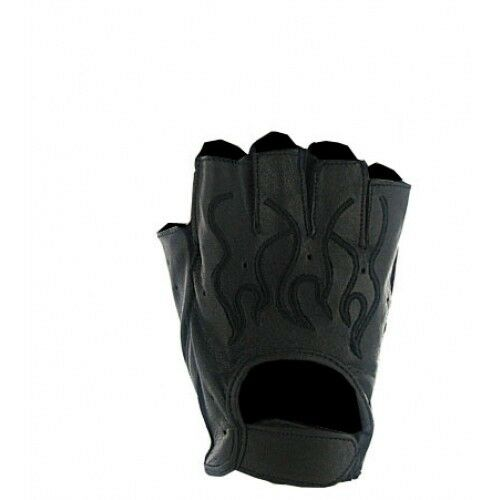 Mens Black Flame Leather Fingerless Motorcycle Gloves Gel ...