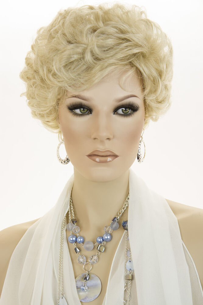 Champagne Blonde Your Light Brown: Champagne Blonde Blonde Short Wavy Curly Wigs