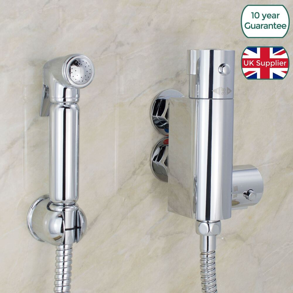 bathroom brass bidet douche shattaf spray kit mini thermostatic valve tap 7426764415097 ebay. Black Bedroom Furniture Sets. Home Design Ideas