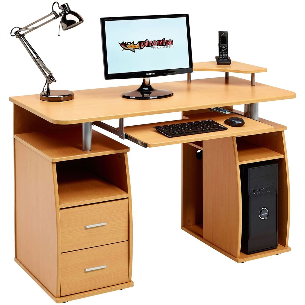 computer desk with shelves cupboard drawers home office piranha