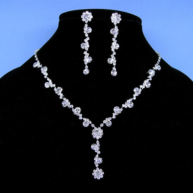 Wedding dangle crystal necklace earrings set ebay for Bridesmaid jewelry sets under 20