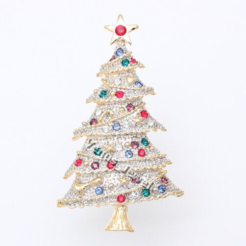 colorful two tone christmas tree rhinestone crystal brooch