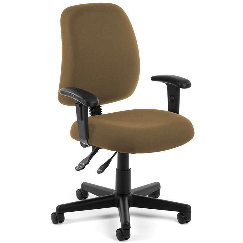 TAUPE FABRIC ERGONOMIC POSTURE TASK OFFICE DESK CHAIR WITH ARMS EBay