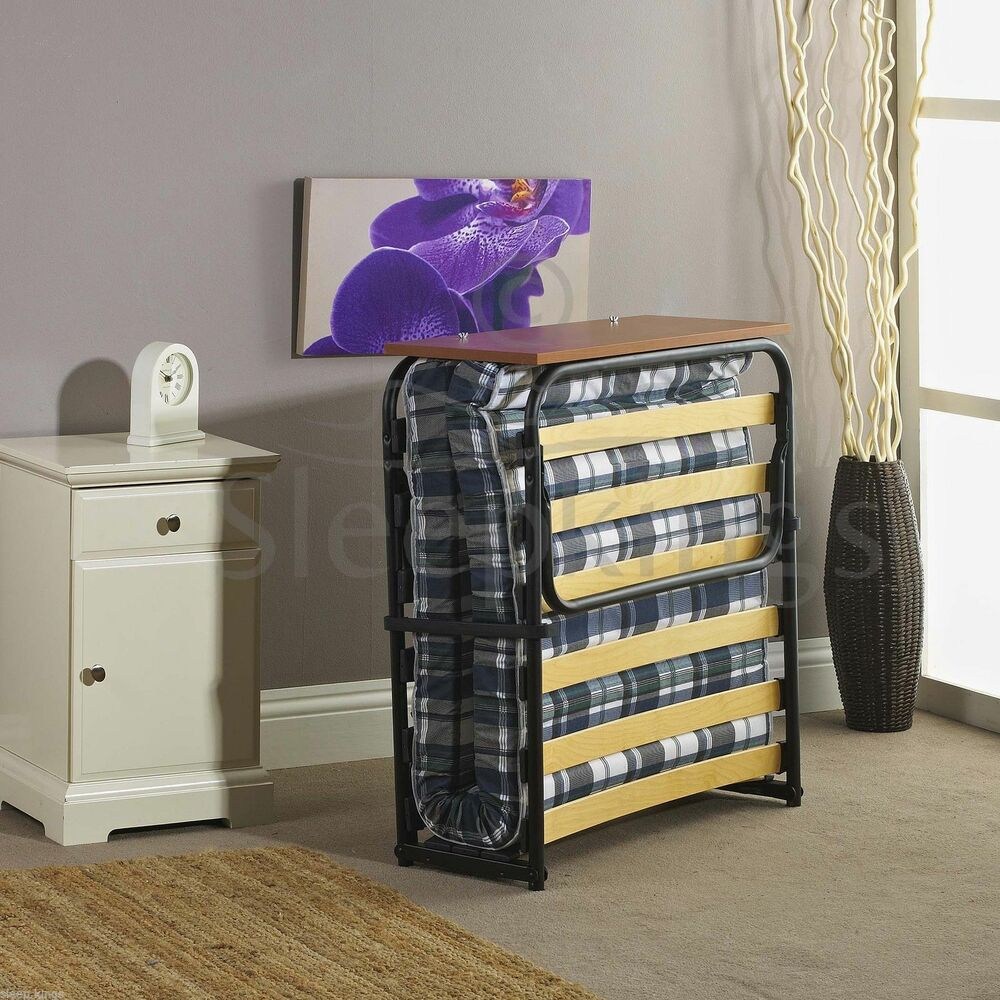 Folding Single Visitor Z Guest Bed With Mattress And