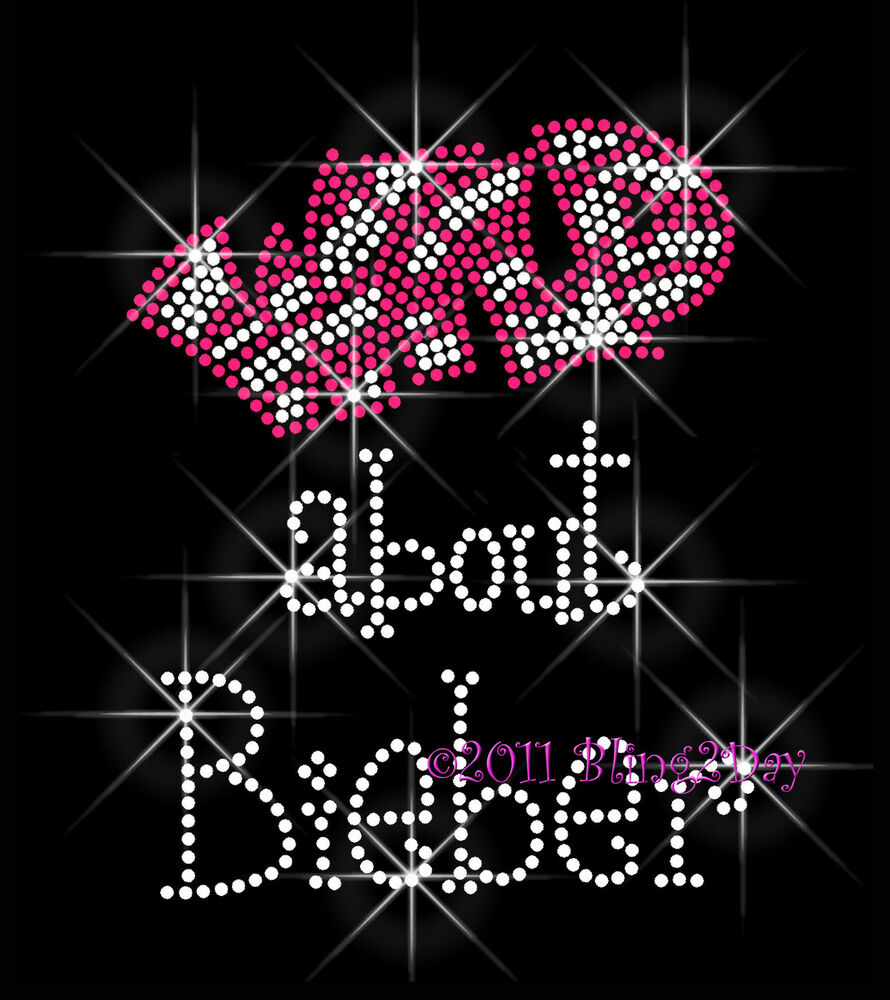 wild about bieber rhinestone iron on transfer hot fix bling fever mom