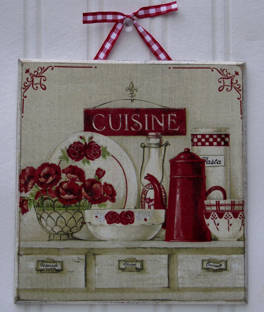 french shabby chic cuisine home decor picture plaque elegant country touch ebay. Black Bedroom Furniture Sets. Home Design Ideas