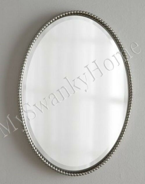 32 Quot Beaded Silver Oval Metal Wall Mirror Horchow Neiman