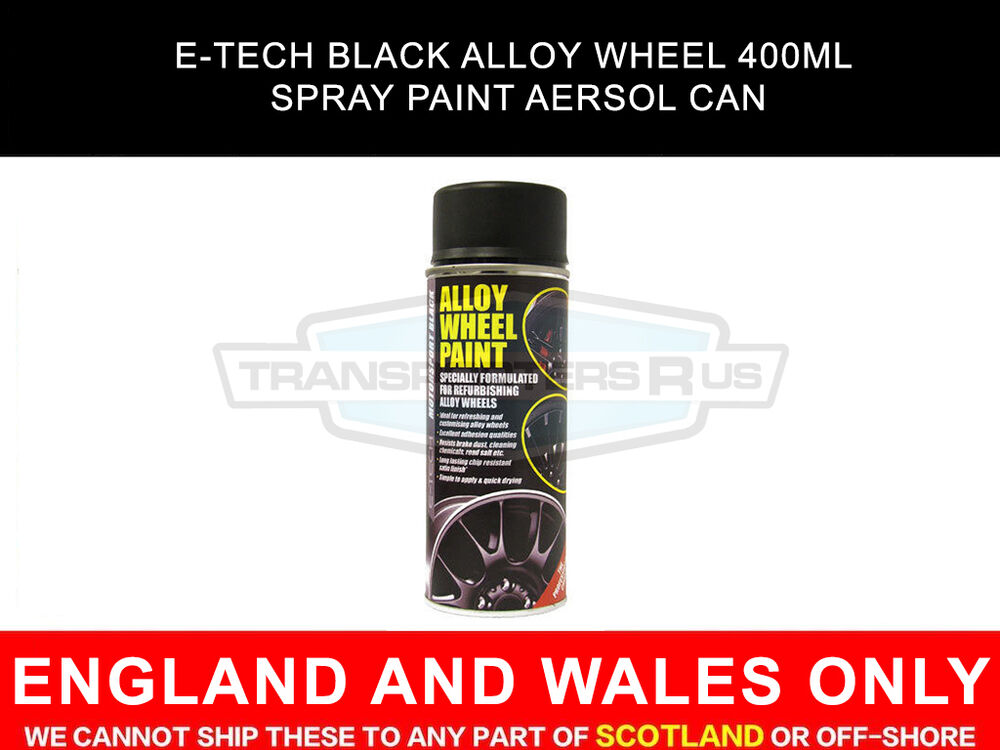 e tech black alloy wheel 400ml spray paint aersol can ebay. Black Bedroom Furniture Sets. Home Design Ideas
