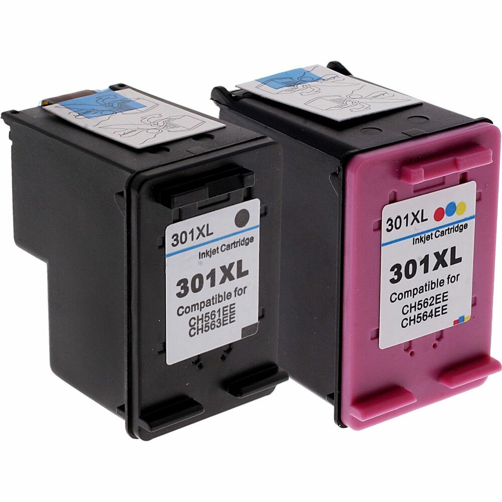 hp 301xl colour black refilled ink for deskjet 1000 1050 1050a ch564ee ch563ee ebay. Black Bedroom Furniture Sets. Home Design Ideas