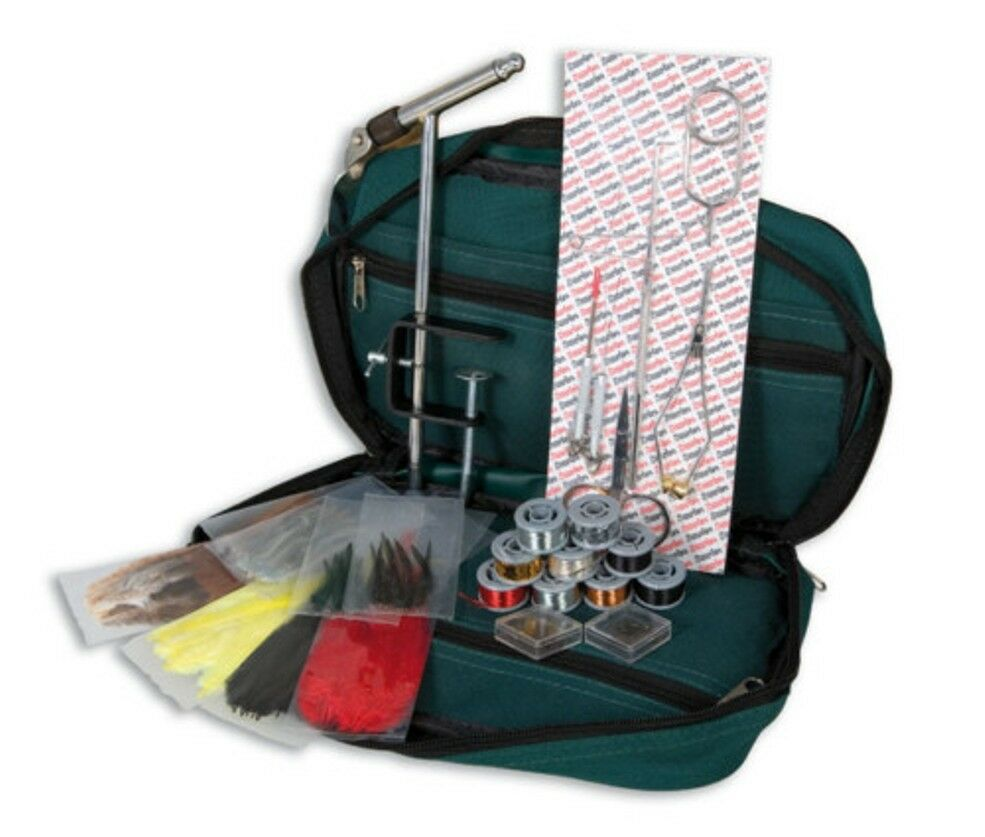 Lineaeffe fly fishing tying kit in case inc feathers floss for Fly fishing tying kit