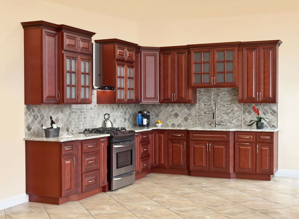 All solid wood kitchen cabinets cherryville 10x10 rta ebay for Kitchen cabinet sets for sale