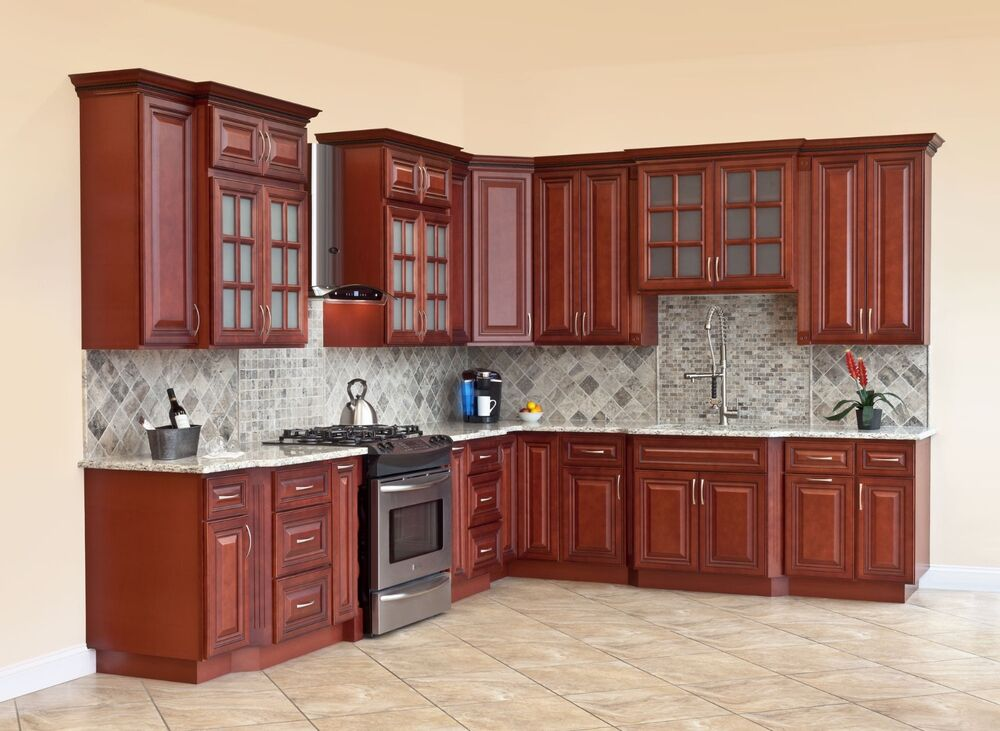 all solid wood kitchen cabinets cherryville 10x10 rta ebay. Black Bedroom Furniture Sets. Home Design Ideas