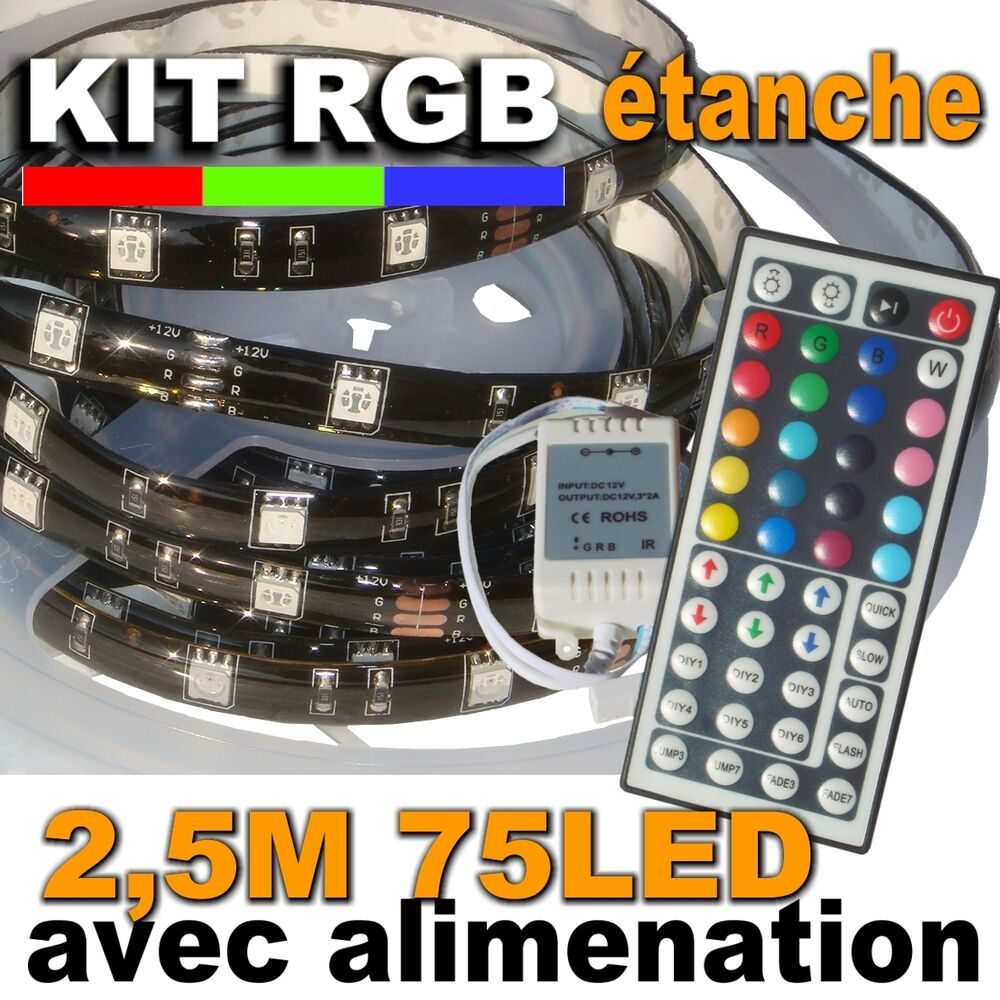 853 2 5bk kit ruban led rgb tanche 75led 2 5m support noir ebay. Black Bedroom Furniture Sets. Home Design Ideas