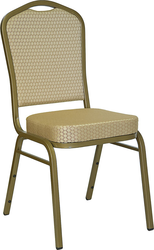 Beige Fabric Steel Frame Banquet Catering Stack Chair With