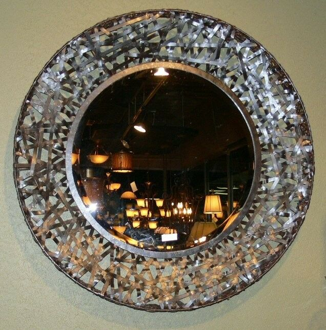 Oversized Round Wall Decor : Contemporary black woven metal wall mirror modern art
