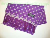100% Cashmere Winter Scarf Scarve Scotland Warm Purple w/ White Polka Dots NEW