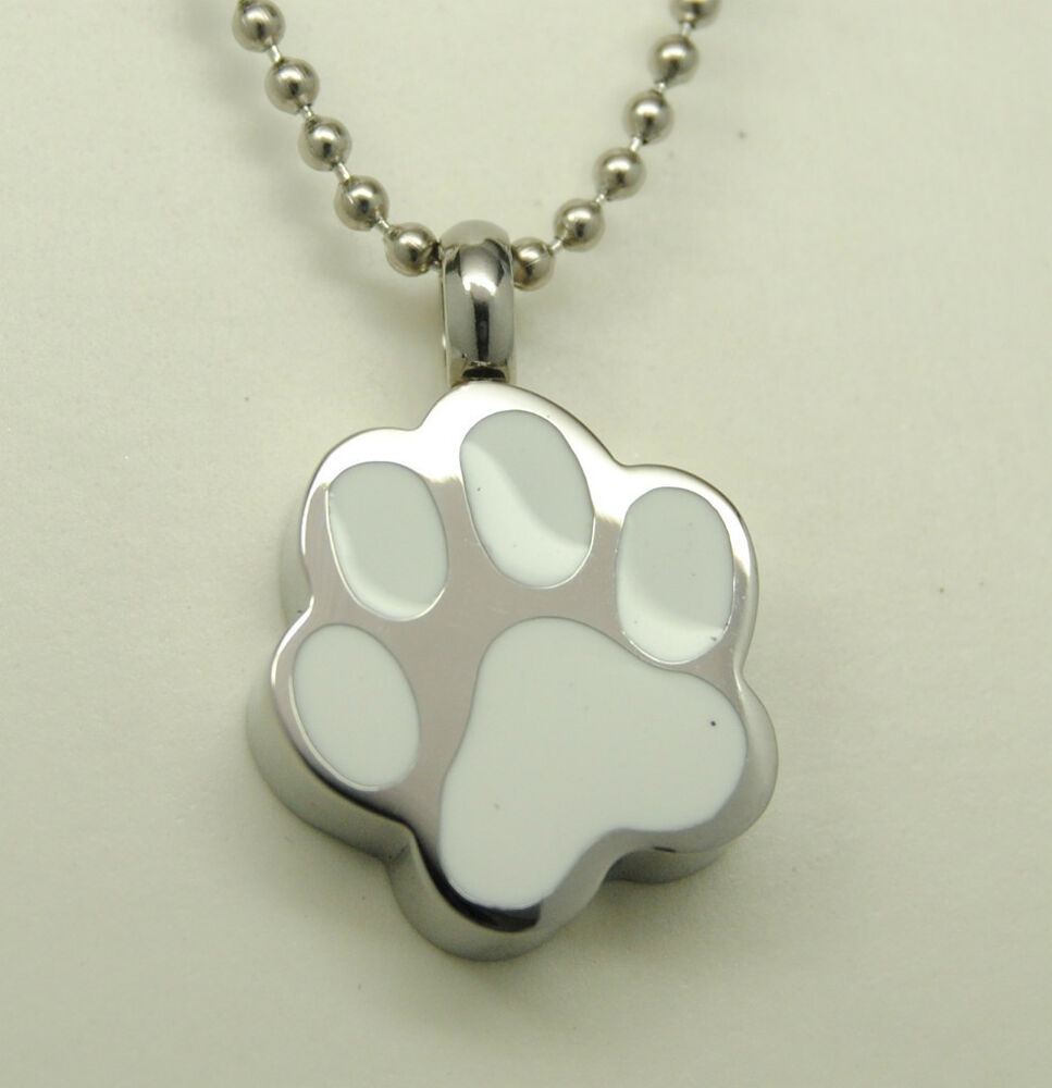 white paw print pet cremation urn necklace pets paws