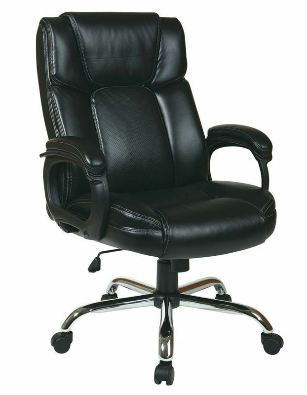 black eco leather big and tall office chair 350 lbs weight capacity