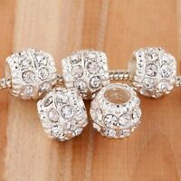 20X Silver Plated Bright Crystal Rhinestone European Beads Charms Pt833