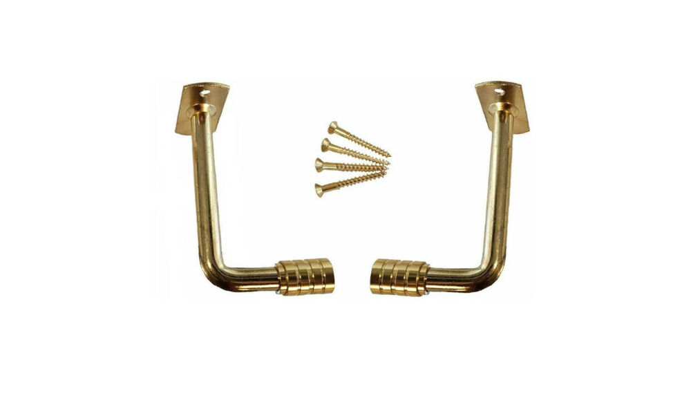 """Pair 2"""" PROJECTION Brass Plated EXTENSION BRACKETS for 3/8"""" Steel ..."""