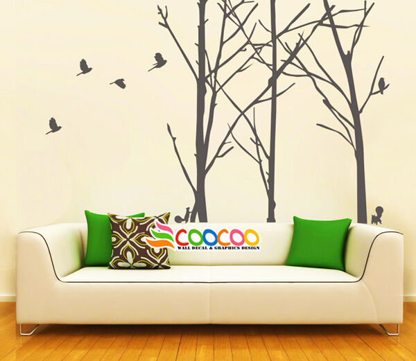 Wall decor decal sticker removable staggered branch tree for Tree trunk wall art