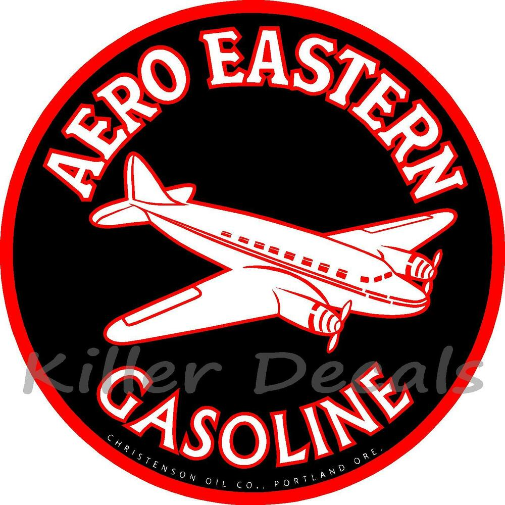 """6"""" AERO EASTERN GASOLINE DECAL GAS AND OIL GAS PUMP SIGN"""