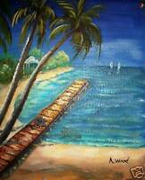 SEA TREES ORIGINAL OIL PAINTING CANVAS NO RESERVE GIFT