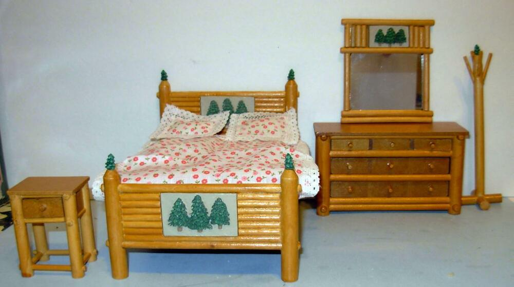 lodge 5 piece bedroom set dollhouse furniture ebay