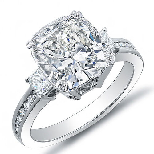 diamond wedding rings for her 3 93 ct cushion cut w princess cut engagement 3523
