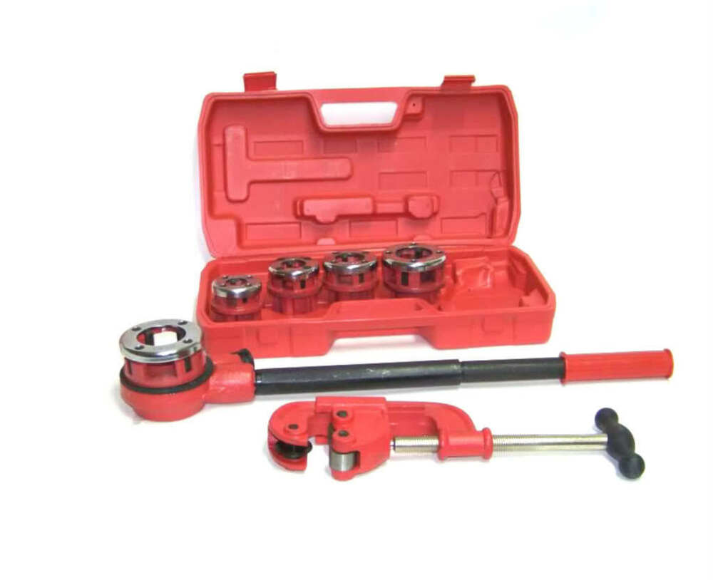 Ratchet pipe threader with dies and cutter ebay