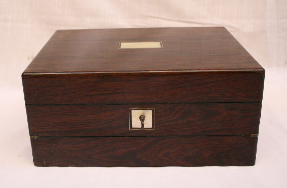 Magnificent 19c French Wooden Jewelry Box With Mother Of