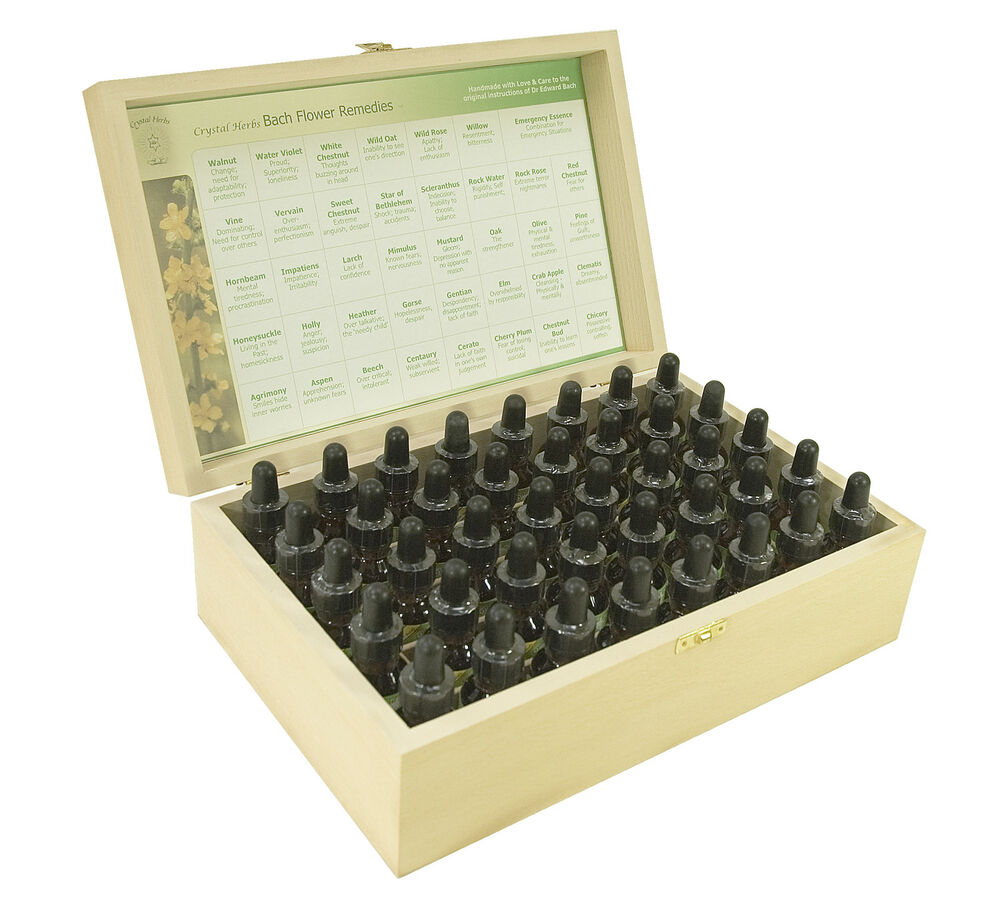 Complete Set Of 25ml Bach Flower Remedies In A Wooden Box Ebay