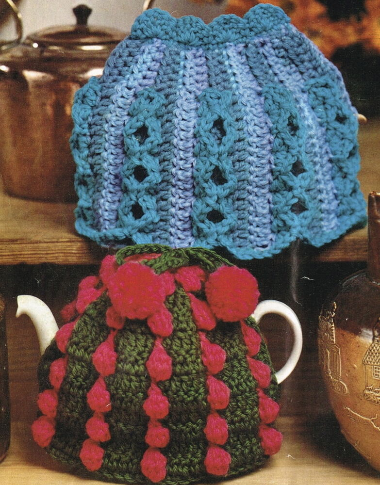 2 Vintage chunky easy make tea cosy,cozy,cosie crochet ...