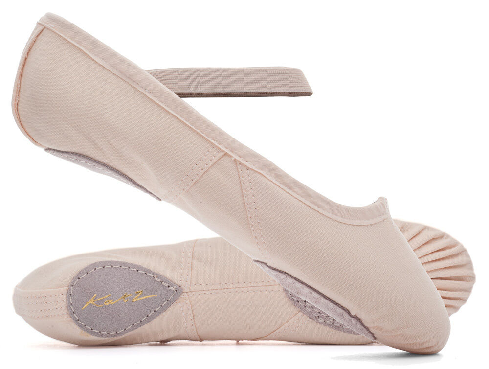 Red Leather Split Sole Ballet Shoes