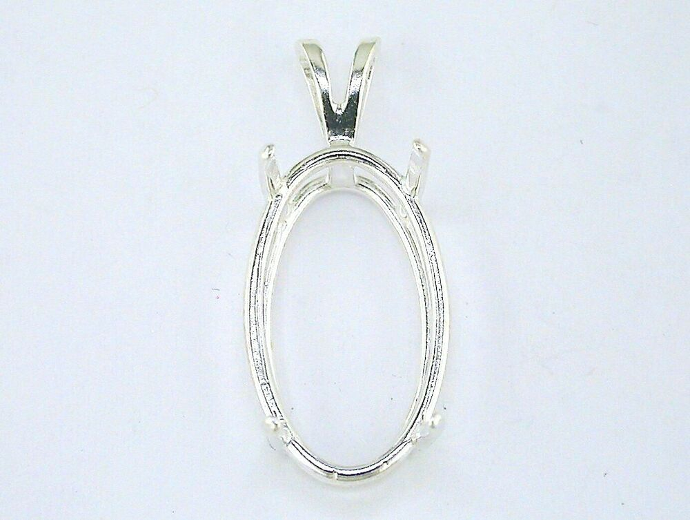 Pendant mount ebay oval 4 prong wire mount pendant setting sterling silver mozeypictures Choice Image