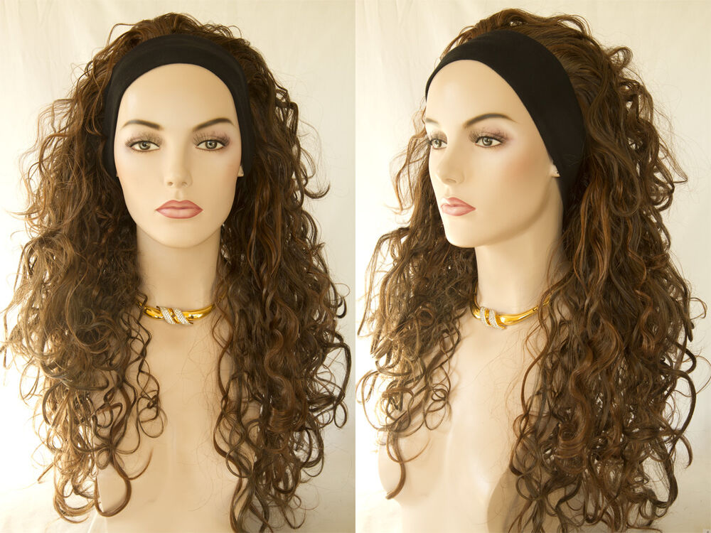 Premium Quality Natural Long Brunette Wavy Curly 3 4 Wig