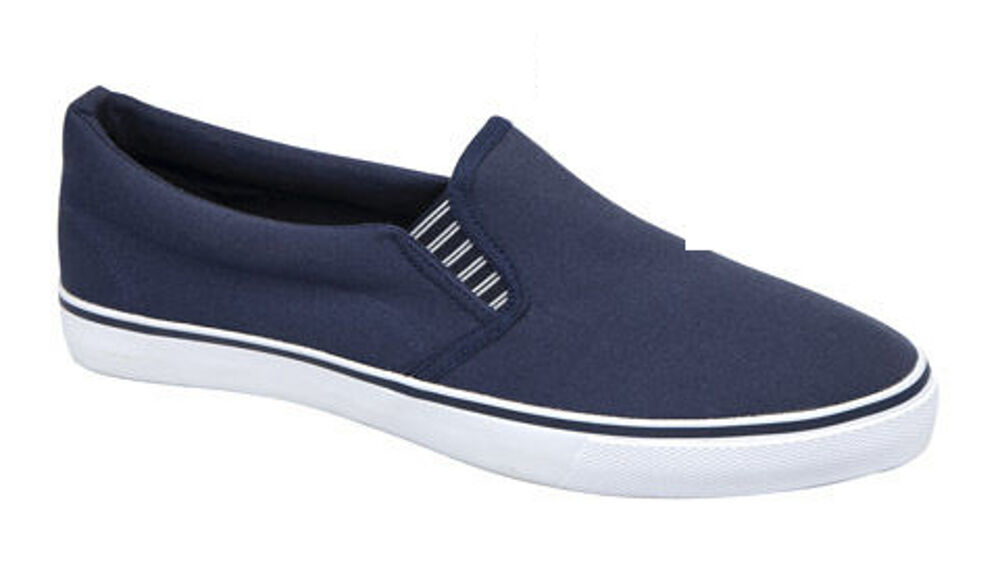mens deck shoes yachting canvas navy slip on rubber