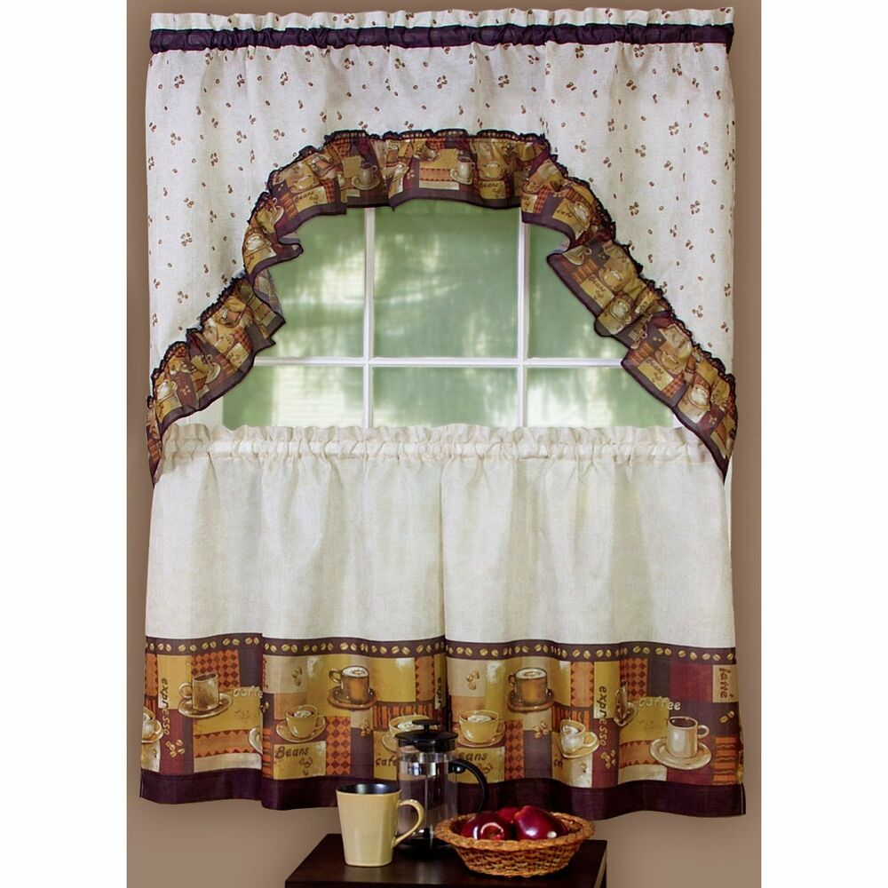 COFFEE CUP CAFE THEME CURTAINS AND SWAG SET