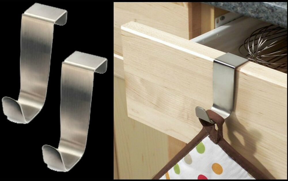 2 X Stainless Steel Over Kitchen Cabinet Draw Door Hooks