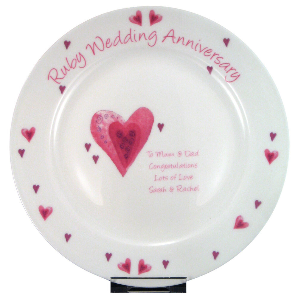 Unusual Ruby Wedding Gifts: RUBY 40th WEDDING ANNIVERSARY PERSONALISED PLATE Unique