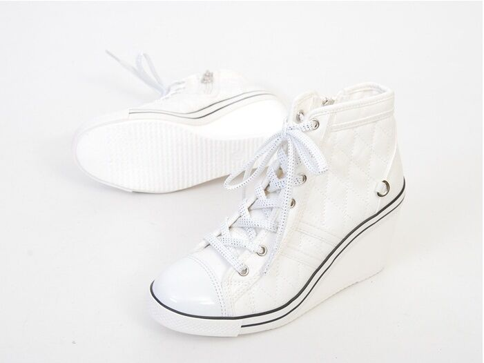 wedge high heel high top sneakers tennis shoes boots