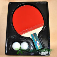 double fish 3a-e Ping Pong Paddle Table Tennis Racket Short Professional 2 balls