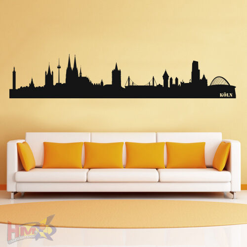 wt 0085 wandtattoo k ln skyline von 160 x 31 cm ebay. Black Bedroom Furniture Sets. Home Design Ideas