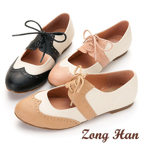 womens two color stitching lace up flat oxford shoes black