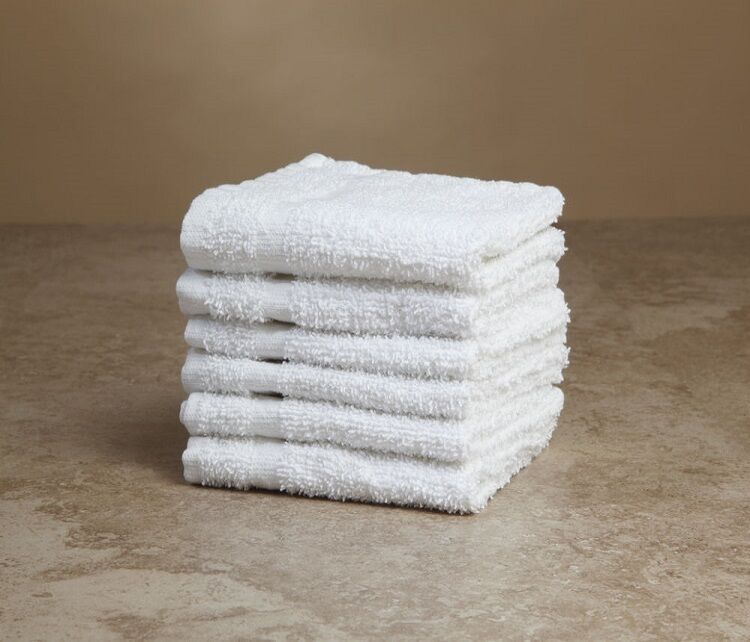 Washcloths History: 12 NEW WHITE TERRY WASHCLOTH SHOP TOWELS CLEANING ECONOMY
