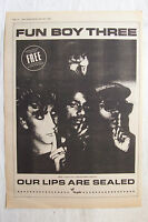 1983 - FUN BOY THREE - Our Lips Are Sealed - Press Advertisment - Poster Size