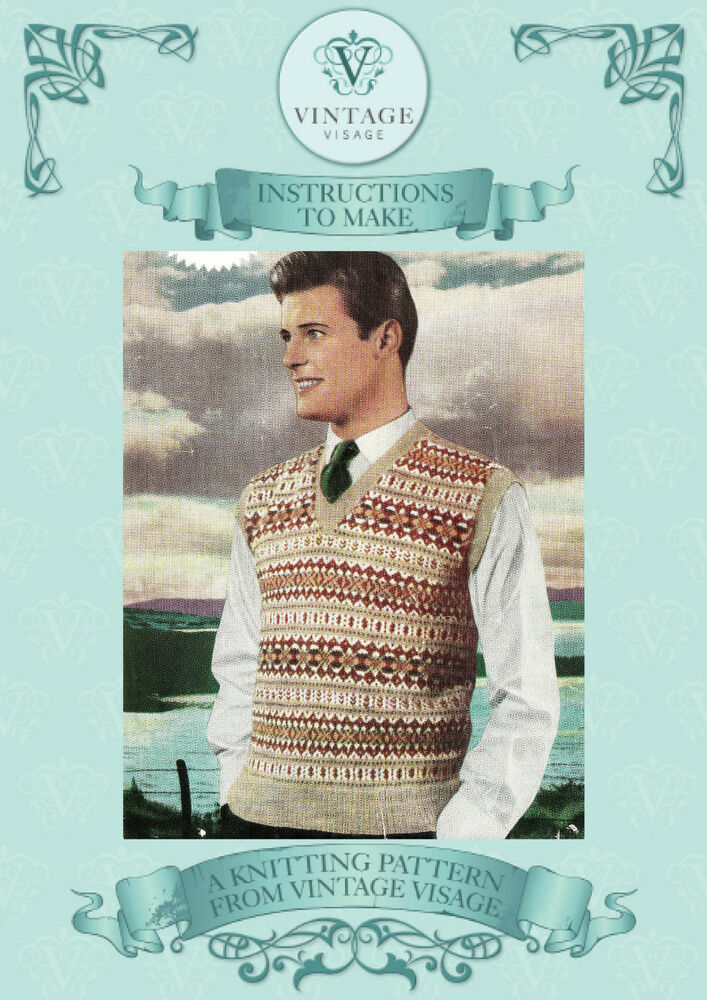 Free Vintage Knitting Patterns 1950s : Vintage 1950s fair isle mens pullover to knit knitting pattern-free UK postag...