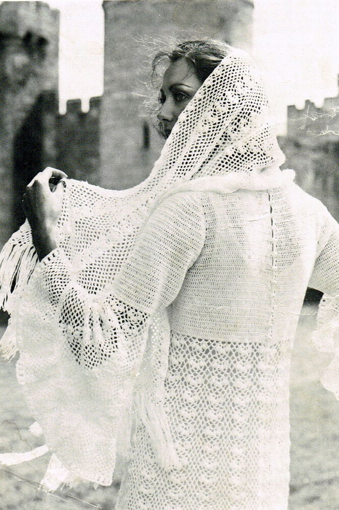 Crochet Lace Wedding Shawl Pattern : Vintage crochet pattern for long lace wedding dress and ...